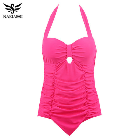 NAKIAEOI 2017 New Plus Size Swimwear Women One Piece Swimsuit Solid Swimwear Large Size Vintage Retro Swimsuit Bathing Suits 4XL
