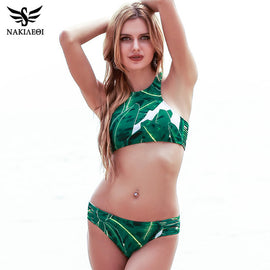 NAKIAEOI Sexy High Neck Brazilian Bikini 2017 Swimwear Women Swimsuit Bandage Green Leaf Bikini Set Print Padded Bathing Suit
