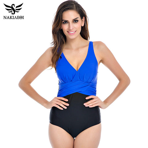 NAKIAEOI Plus Size Swimwear One Piece Swimsuit Women 2017 Swim Suit Bodysuit Badpak Beachwear Retro Vintage Bathing Suit 5XL
