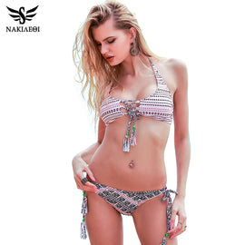 NAKIAEOI Sexy Handmade Crochet Bikini 2017 Summer Beachwear Brazilian Bikini Set Swimwear Women Swimsuit Bathing Suit Swim XL
