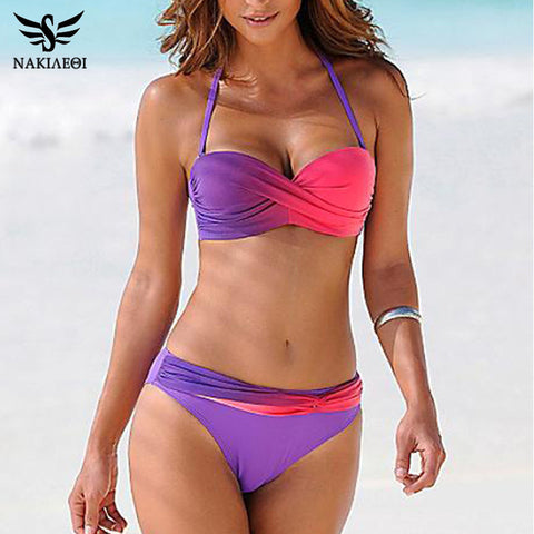 NAKIAEOI 2017 Sexy Bikini Push Up Swimwear Women Swimsuit Bandeau Gradient Color Brazilian Bikini Set Beachwear Bathing Suits