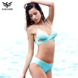 NAKIAEOI Sexy Criss Cross Bikini Women Swimsuit 2017 New Push Up Swimwear Bandage Brazilian Bikini Set Bathing Suit Swim Wear