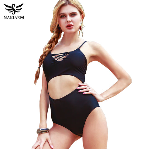 NAKIAEOI 2017 Sexy One Piece Swimsuit Swimwear Women Bodysuit Bathing Suit Vintage Beach Wear Bandage Monokini Swimsuit Black