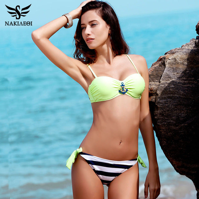NAKIAEOI 2017 New Sexy Bandeau Brazilian Bikini Women Swimsuit Push Up Swimwear female Bikini Set Plaid Bathing Suit Biquini
