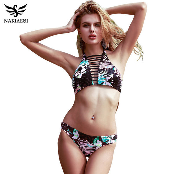 NAKIAEOI Sexy High Neck Bikini Women Swimwear 2017 Hot Halter Printed Cut Out Swimsuit Brazilian Bikini Set Bathing Suit Biquini