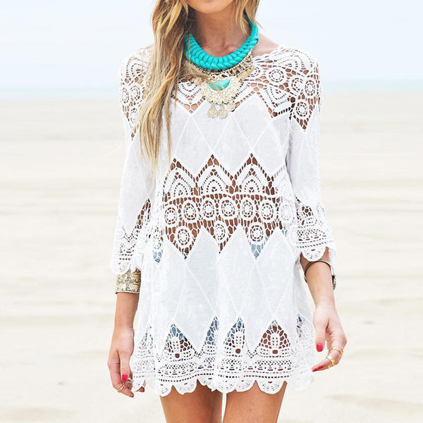 New 2017 Summer Women Mini Dress Elegant Half Sleeve O Neck White Lace Floral Crochet Hollow Out Solid Beach Dress Vestidos