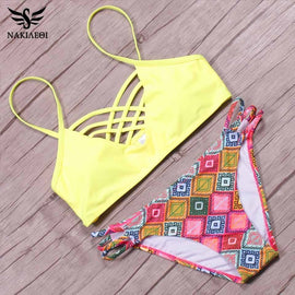 NAKIAEOI Sexy Brazilian Bikini 2017 Newest Swimwear Women Swimsuit Cross Bandage Top Bikini Set Beach Bathing Suit Bathing Suits