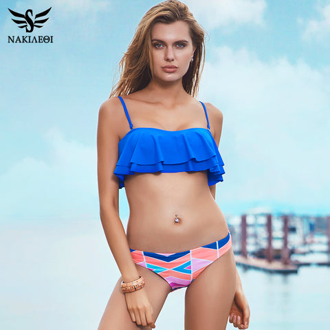 NAKIAEOI Sexy Bikinis Women Swimsuit Push Up Swimwear 2017 New Bandeau Ruffle Print Brazilian Bikini Set Beachwear Bathing Suits