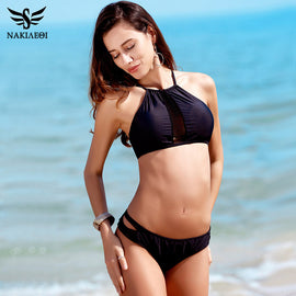 NAKIAEOI Sexy High Neck Bikini Swimwear Women Swimsuit 2017 New Handmade Crochet Brazilian Bikini Set Cut Out Bathing Suit Black