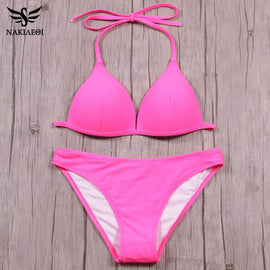 NAKIAEOI Sexy Halter Bikini Set Push Up Swimwear Women Brazilian Bikini 2017 Solid Pink Swimsuit Summer Beach Bathing Suits Swim