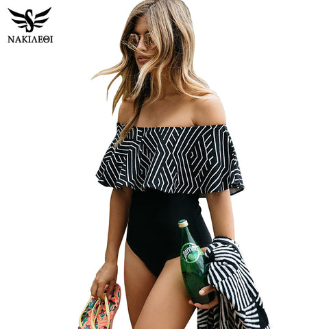 NAKIAEOI New 2017 Sexy Ruffle Swimsuit One Piece Swimwear Women Bathing Suits One-Piece Suit Swim Wear Monokini Swimsuit Black