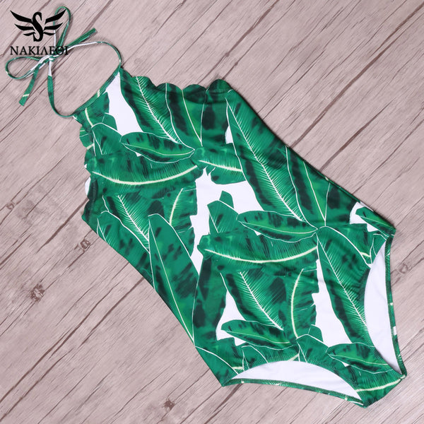 NAKIAEOI Sexy Swimwear Women One Piece Swimsuit 2017 Halter Top Green Leaf Backless Scalloped Trim Beach Bathing Suits Monokini