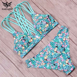 NAKIAEOI Sexy Bandage Bikini Swimwear Women Swimsuit 2017 Summer Push Up Bathing Suit Swim Brazilian Bikini Set Green Biquini