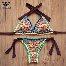 NAKIAEOI Sexy Handmade Crochet Bikini Women Swimsuit 2017 Crochet Swimwear Female Brazilian Bikini Set Beach Wear Bathing Suit