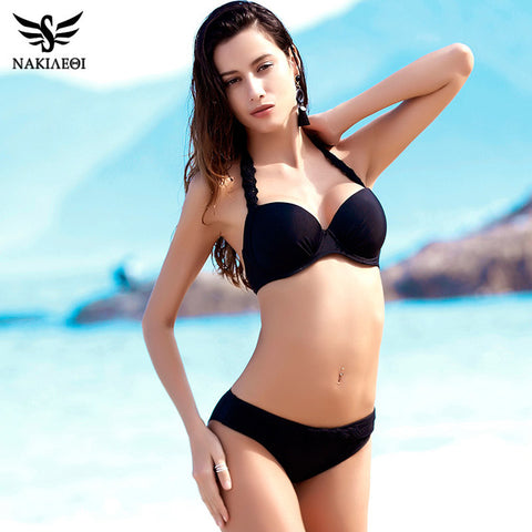 NAKIAEOI 2017 New Sexy Crochet Bikini Swimwear Women Swimsuit Halter Retro Brazilian Bikini Set Bathing Suits Swim Wear Black XL