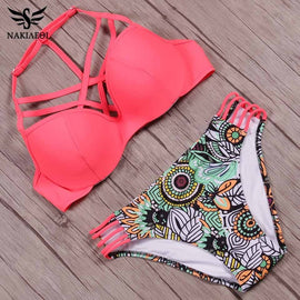 NAKIAEOI Sexy Bandage Bikini Swimwear Women Brazilian Bikini Set 2017 Printed Swimsuit Cut Out Summer Beach Bathing Suits Swim
