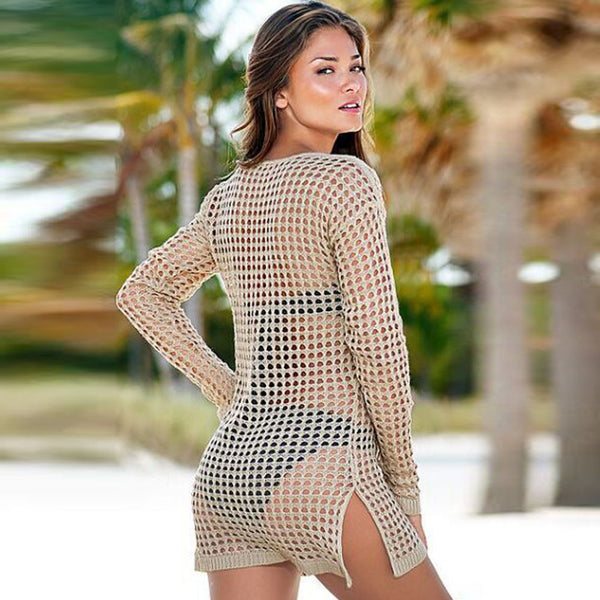 Sexy Knitted Beach Cover up Saida de Praia Swim suit cover up Beach Tunic for Women Crochet Bikini cover up Beach Dress #YW