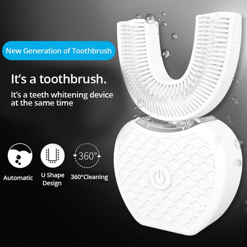 360° Intelligent U Shape Sonic Electric Toothbrush with Teeth Whitening Light