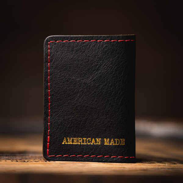 "Back of the ""Rockefeller"" Gambler's wallet showing the ""American Made"" foil stamping."