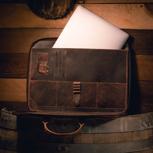Vintage Brown Leather Laptop Portfolio