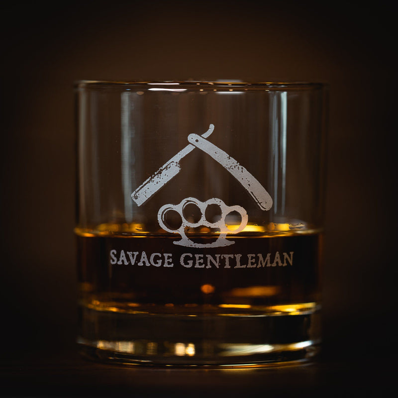 Razor and Knucks' Whiskey Glass Drinkware Savage Gentleman