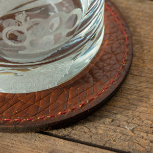 Leather Coaster with Glass