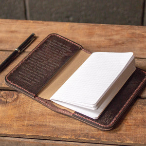 Handmade Leather Notebook Cover- Chocolate Water Buffalo Limited Edition
