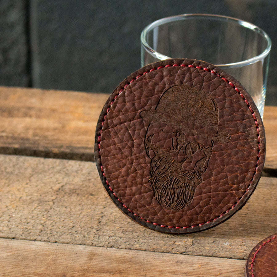 Handcrafted American Bison Leather Coaster- Skull