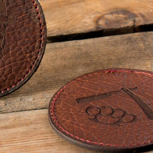 Handcrafted American Bison Leather Coaster Leather Goods Savage Gentleman