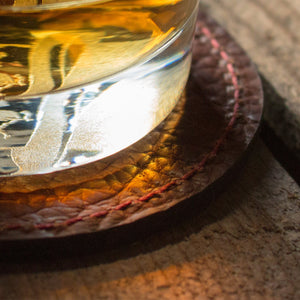 Savage Gentleman Leather Coasters with Whiskey Glass