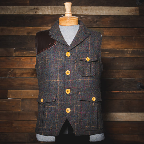 Savage Gentleman Ketchum Vest made from wool with a lambskin leather shoulder patch.