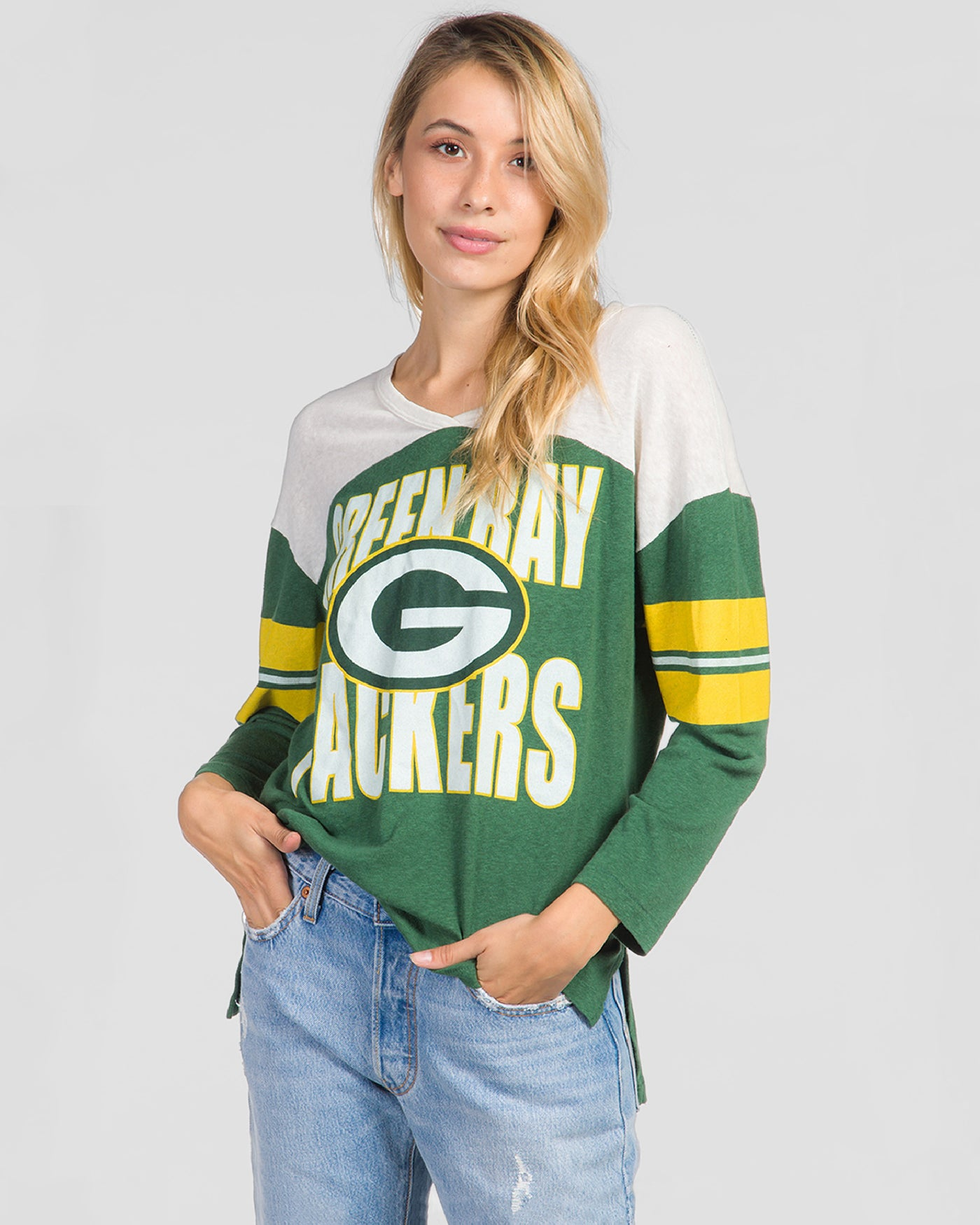 hot sale online 063d0 d873f WOMENS PACKERS JERSEY TOP - HUNTER GREEN / SUGAR / L