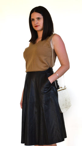 High Waist A-Line Leather Look Skirt