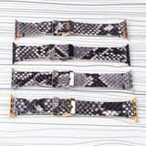 Apple Watch Band Handstitched Premium Leather Black Snake Print