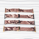 Apple Watch Band Handstitched Premium Leather Brown Snake Print