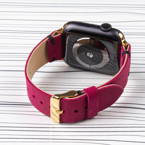 Apple Watch Band Handstitched Premium Leather Fuchsia