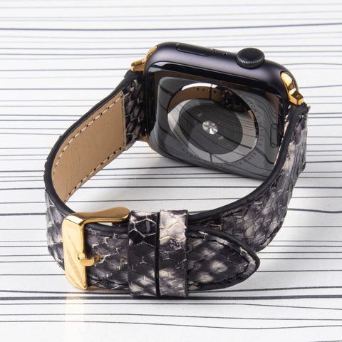 Apple Watch Band  Black Leather Snake Pattern