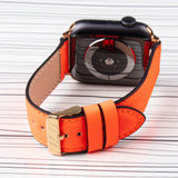 Apple Watch Band Neon Orange Premium Leather