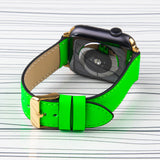 Apple Watch Band Neon Green Premium Leather