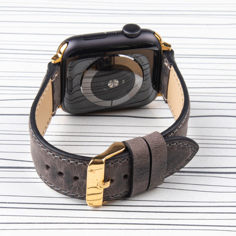 "Apple Watch Band ""Crazy Horse"" Grey Leather"