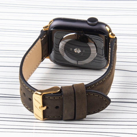 "Apple Watch Band ""Crazy Horse"" Khaki Leather"