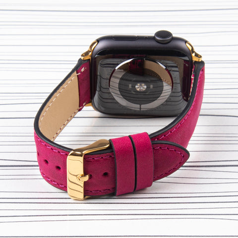 "Apple Watch Band ""Crazy Horse"" Fuchsia Leather"