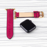 "Apple Watch Band Handcrafted ""Crazy Horse"" Leather Padded in Colors"