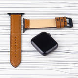 Apple Watch Band  Brown Leather Saffiano Pattern