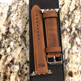 "Apple Watch Band Handcrafted ""Crazy Horse"" Leather Padded Brown, Black, Cinnamon"