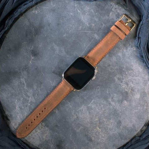 "Apple Watch Band ""Crazy Horse"" Leather Cinnamon"