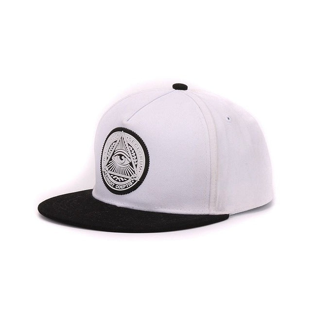 Classic 5 panels cotton snapback 3d god eyes cap