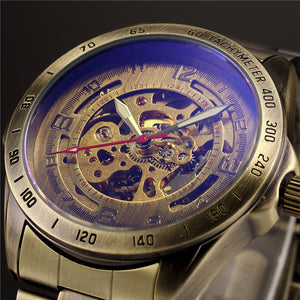 Antique Design Automatic Skeleton Mechanical Watch Vintage Brass steel Men's Wristwatch Skeleton Steampunk Clock Male Blue Dial
