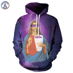 Sweatshirts With Hat Print Jesus Space Galaxy Hooded Hoodies