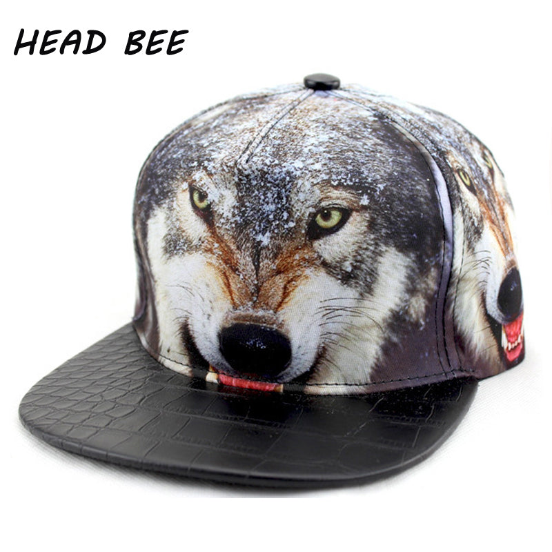 Brand Hip Hop Hat Adult Cotton Print Wolf Animal Cool Baseball Cap Adjustable Flat Style for Men and Women